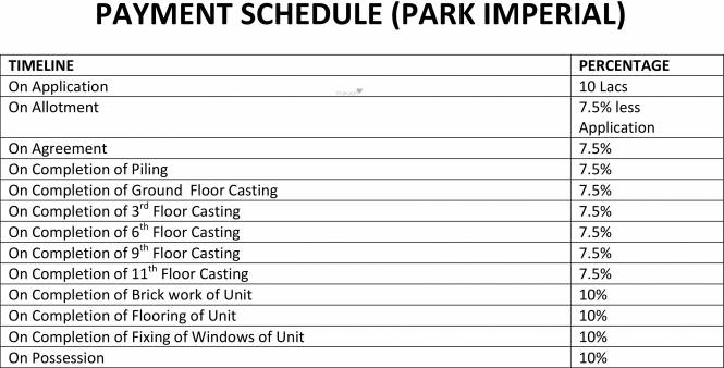 Reputed Park Imperial Payment Plan