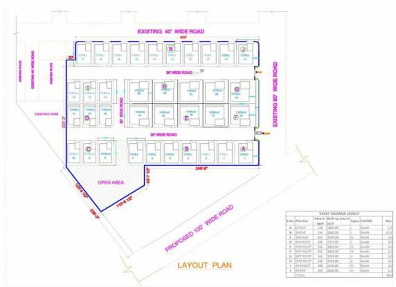 Saket Swarna Villas Layout Plan