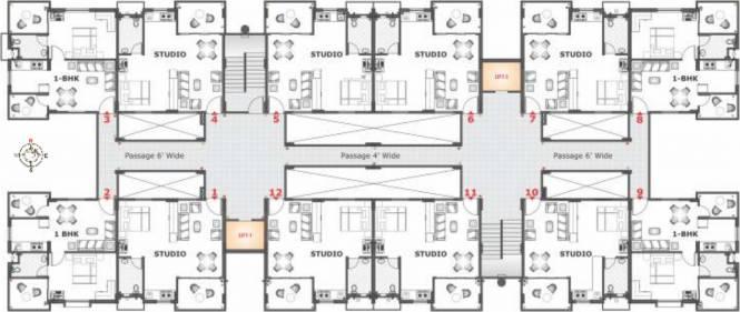 Fire Unity Studio Apartments Cluster Plan