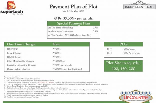 Supertech Up Country Plots Payment Plan