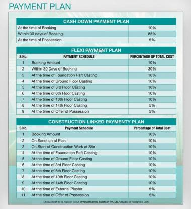 Shubhkamna Tec Homes Payment Plan