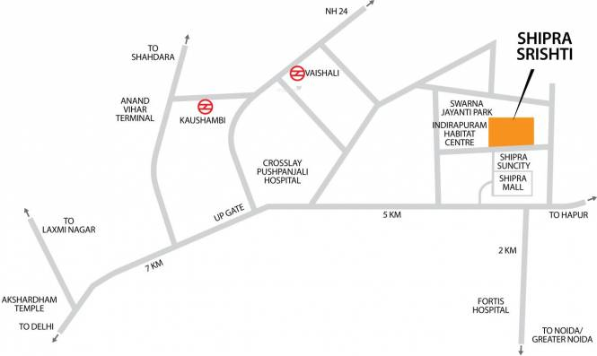 Shipra Srishti Location Plan
