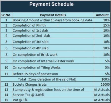 MAAD Yashvant Srushti Payment Plan