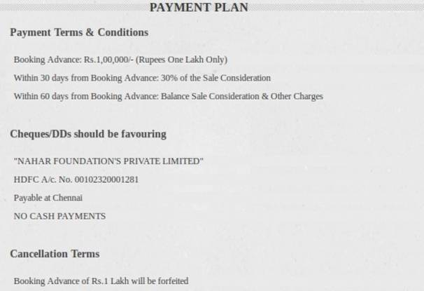 Nahar Backwaters Payment Plan