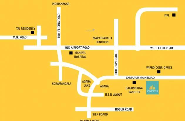 Salarpuria Sattva Senorita Location Plan