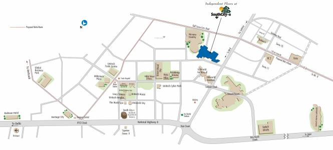 Unitech South City II Location Plan