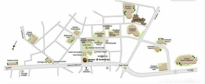 Unitech World Spa Location Plan