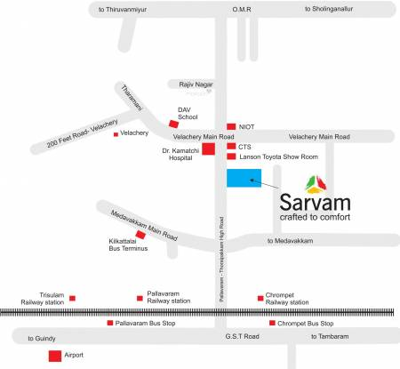 S and S Sarvam Apartments Location Plan