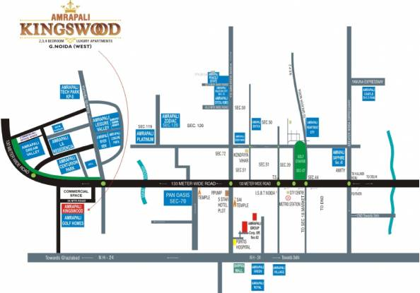 Amrapali Kingswood Location Plan