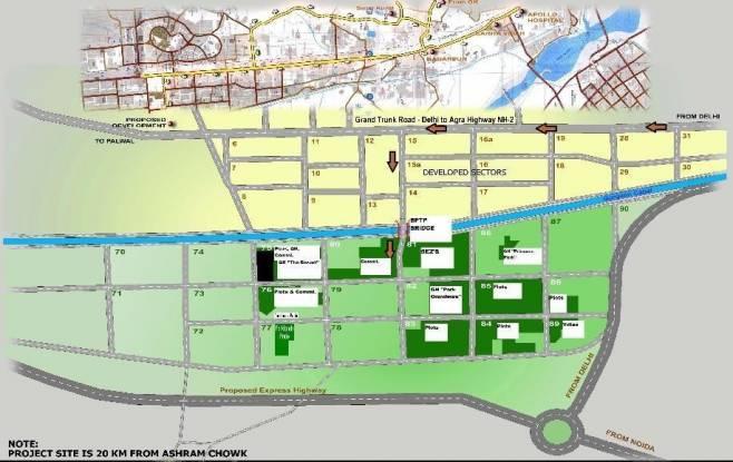 BPTP Parklands Pride Location Plan