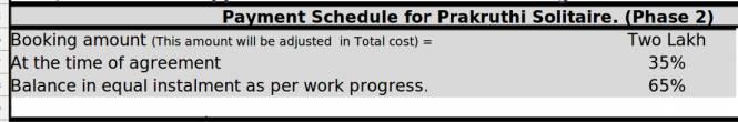 Nandhini Prakruthi Solitaire Payment Plan