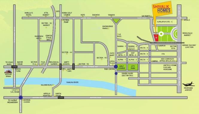 Cosmos Shivalik Homes Location Plan