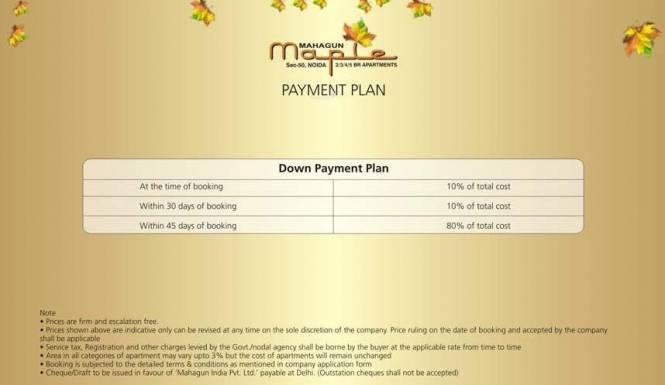 Mahagun Maple Payment Plan
