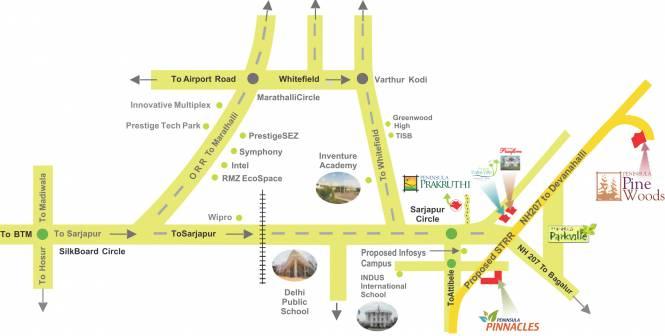Peninsula Prakruthi Location Plan