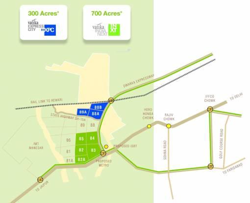Vatika Express City Plots Location Plan