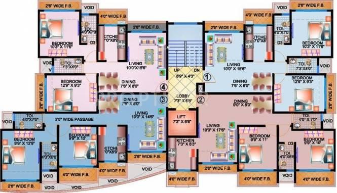 Bholenath Aura Apartment Cluster Plan