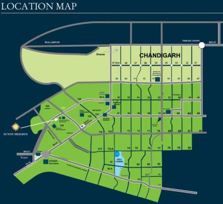 Bajwa Sunny Heights Location Plan