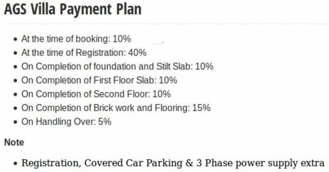 AGS Villa Payment Plan