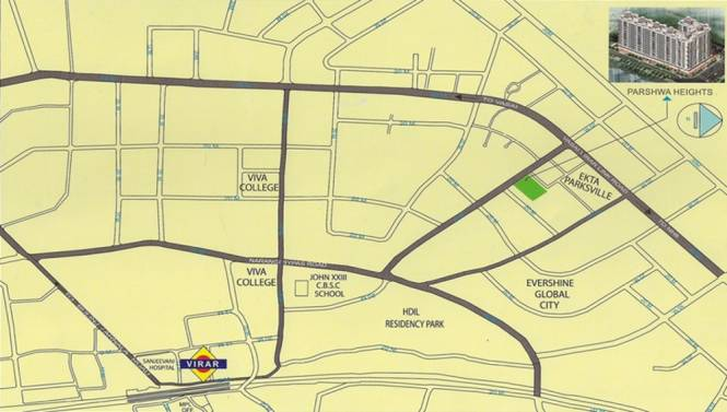 Parasnath Parshwa Heights Location Plan