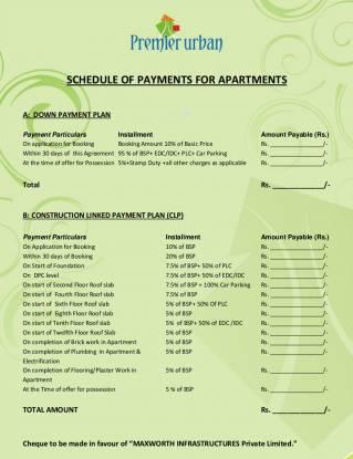 Maxworth Premier Urban Payment Plan