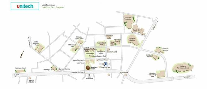Unitech Uniworld City South Location Plan