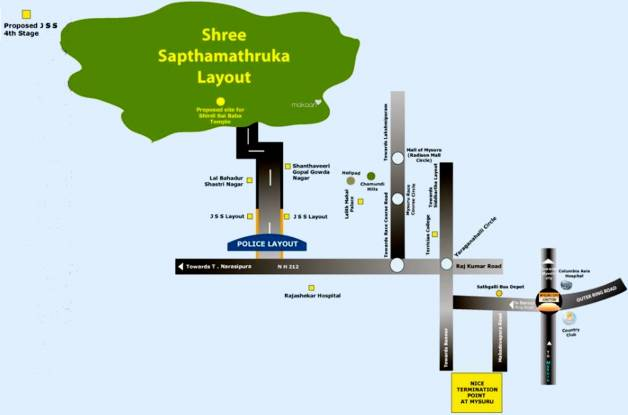 ESS and ESS Infrastructure Pvt Ltd Sree Sapthamathruka Layout Location Plan