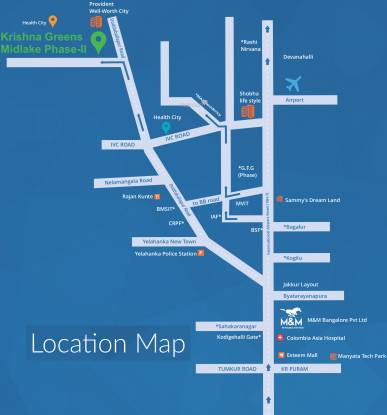 M And M Bangalore Krishna Greens Midlake Location Plan