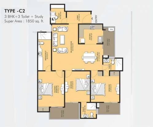 1850 sqft, 3 bhk Apartment in VVIP Addresses Raj Nagar Extension, Ghaziabad at Rs. 70.0000 Lacs