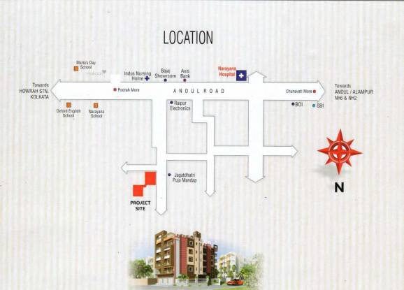 853 sqft, 2 bhk Apartment in Builder TANVIR BHUBANA Andul, Kolkata at Rs. 21.3250 Lacs
