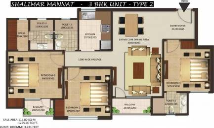 1225 sqft, 3 bhk Apartment in Shalimar Mannat Uattardhona, Lucknow at Rs. 40.0000 Lacs