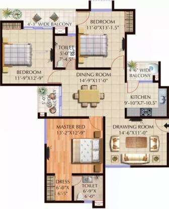 1517 sqft, 3 bhk Apartment in Spring Greens Phase 1 Gomti Nagar, Lucknow at Rs. 14000