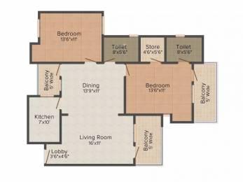 1288 sqft, 2 bhk Apartment in Jaipuria Sunrise Greens VIP Rd, Zirakpur at Rs. 12500