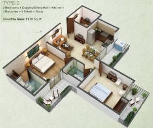 1130 sqft, 2 bhk Apartment in Fusion Homes Techzone 4, Greater Noida at Rs. 36.2250 Lacs