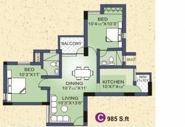 985 sqft, 2 bhk Apartment in Builder Project Kattupakkam, Chennai at Rs. 43.3400 Lacs