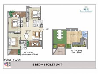 1475 sqft, 3 bhk Apartment in Rise Resort Residences Forest Floor Sector 1 Noida Extension, Greater Noida at Rs. 76.0000 Lacs
