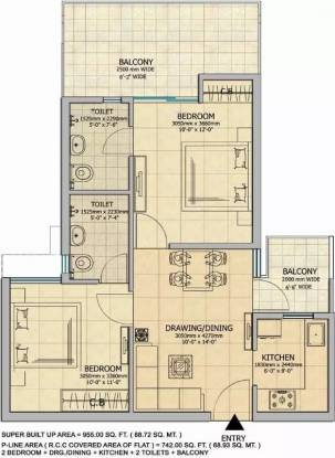 955 sqft, 2 bhk Apartment in Gaursons 14th Avenue Sector 16C Noida Extension, Greater Noida at Rs. 33.0000 Lacs