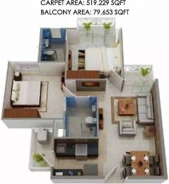 674 sqft, 2 bhk Apartment in Signature The Millennia Sector 37D, Gurgaon at Rs. 24.0000 Lacs