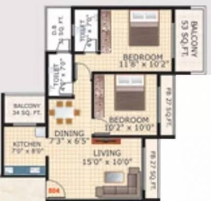 1180 sqft, 2 bhk Apartment in Bhagwati Sky Oasis Ulwe, Mumbai at Rs. 10000