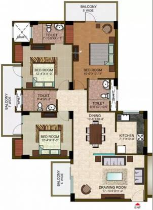 1485 sqft, 3 bhk Apartment in Ramprastha The View Sector 37D, Gurgaon at Rs. 19500