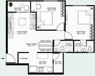 985 sqft, 2 bhk Apartment in Mirchandani Shalimar Swayam Sukliya, Indore at Rs. 27.0000 Lacs