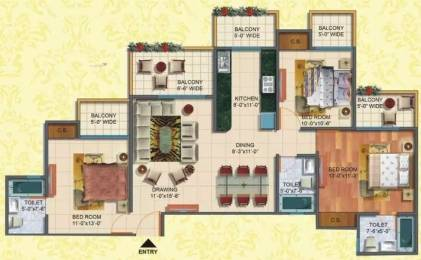 1540 sqft, 3 bhk Apartment in Rudra Palace Heights Sector 1 Noida Extension, Greater Noida at Rs. 61.0000 Lacs