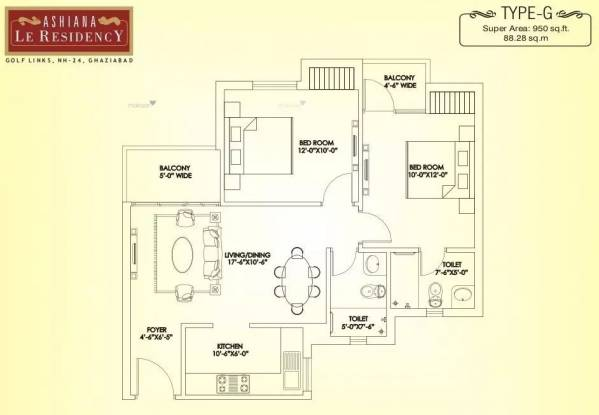 950 sqft, 2 bhk Apartment in Ashiana Le Residency Lal Kuan, Ghaziabad at Rs. 35.5000 Lacs