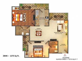 1275 sqft, 2 bhk Apartment in Sangwan Heights Raj Nagar Extension, Ghaziabad at Rs. 38.2500 Lacs
