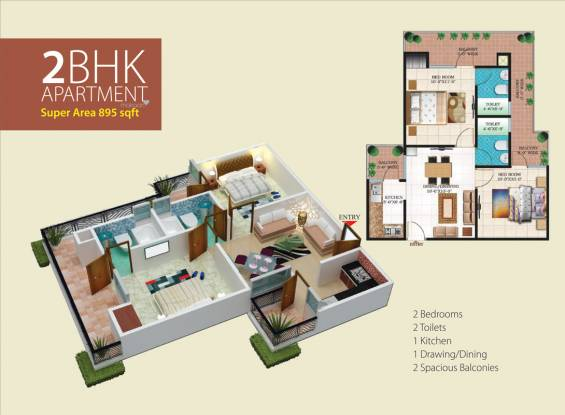 895 sqft, 2 bhk Apartment in Windsor Paradise 2 Raj Nagar Extension, Ghaziabad at Rs. 25.0000 Lacs