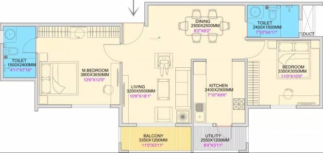 1077 sqft, 2 bhk Apartment in Concorde Spring Meadows Jalahalli, Bangalore at Rs. 60.0000 Lacs