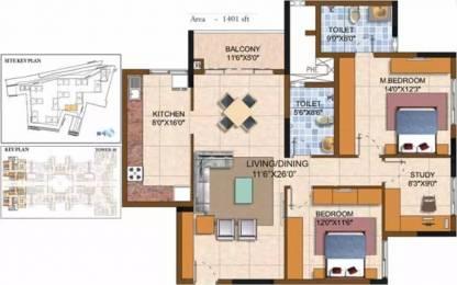 1401 sqft, 2 bhk Apartment in Prestige Royale Gardens Yelahanka, Bangalore at Rs. 74.0500 Lacs