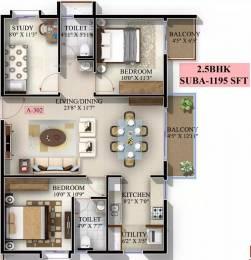 1195 sqft, 2 bhk Apartment in Mahaveer Jasper JP Nagar Phase 7, Bangalore at Rs. 56.7600 Lacs