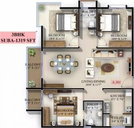 1319 sqft, 3 bhk Apartment in Mahaveer Jasper JP Nagar Phase 7, Bangalore at Rs. 62.6500 Lacs