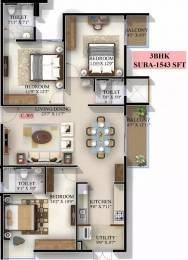 1543 sqft, 3 bhk Apartment in Mahaveer Jasper JP Nagar Phase 7, Bangalore at Rs. 73.2900 Lacs
