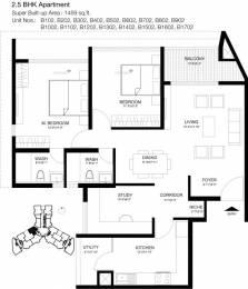 1459 sqft, 2 bhk Apartment in Godrej United Mahadevapura, Bangalore at Rs. 1.0900 Cr